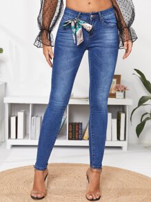 Bleach Wash Push-Up Skinny Jeans Without Knot