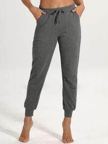 Drawstring Waist Slant Pocket Sports Pants