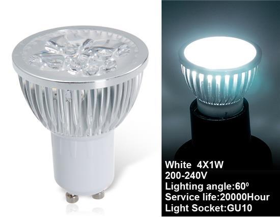 GU10 4 x 1W Adjustable Cool White LED Spot Bulb