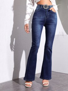 High Waist Flare Leg Jeans Without Belt