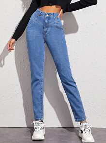 High Waisted Paneled Waist Jeans