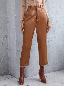 PU Leather Solid Straight Leg Pants