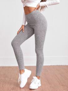 Solid Rib Knit Leggings