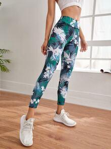Tropical & Floral Print Sports Leggings