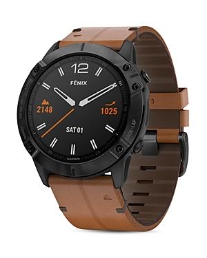 Garmin Fenix 6X Chestnut Leather Strap Smartwatch, 51mm