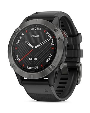 Garmin Fenix 6 Silicone Strap Carbon Gray Dlc Black Band Smartwatch, 47mm